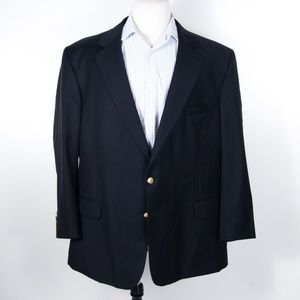 Jos. A. Bank Solid Black Blazer w/ Brass Buttons